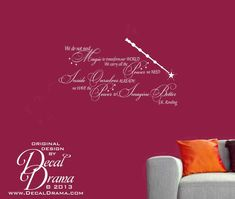 """HARRY POTTER author quote: """"We Do Not Need MAGIC to Change our World, We Carry All the Power We Need Inside Ourselves Already; We Have the POWER to Imagine Better,"""" JK Rowling quote with Elder Wand, wall decal: approximately 25""""w x 14""""h (64cm x 36cm)  This order is for the vinyl wall decal only..."""