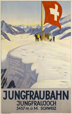 Jungfrau bahn, Jungfraujoch, 3457m Schweiz by Cardinaux Emil / 1928. Rare Emil Cardinaux vintage poster showing a vue of the Jungfrau glacier over Interlaken in the Swiss Alps. Fine lithograph on stone, printed in 1928 by Wolfsberg. A Beautiful wintersport poster by the master, in good condition, highly collectable.