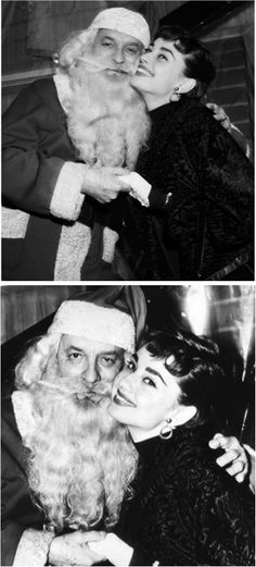 Audrey Hepburn, Christmas, 1953. (and is that Gene Kelly posting as Santa?)