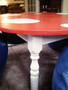 Spray Painted Mushroom Inspired Table For Kids Play Room! Easy And Cute!
