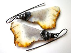 Pretty Girls Don't Know the Things I Know - primitive lavender amber ivory agate stone slabs & spiral soldered black metal bead cap earrings by LoveRoot