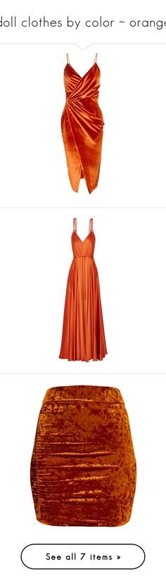 """doll clothes by color ~ orange"" by slightlyterrified ❤ liked on Polyvore featuring dresses, vestidos, midi dress, orange, red velvet dress, red tuxedo, red party dresses, cocktail party dress, red cocktail dress and gowns"