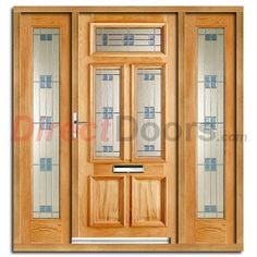 Image of Danielle Regal Exterior Oak Door and Frame Set with Two Side Screens and Regal Double Glazing External Oak Doors, Tall Cabinet Storage, Locker Storage, Window Grill Design, Glazed Doors, Garage Doors, Exterior, Screens, Windows