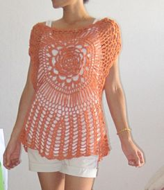 Sweet Orange TOP hand crocheted by BySinamon on Etsy, $32.00