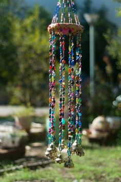 Wind chime – beaded mobile with Brass bells- sun catcher – Bohemian décor- Hippie style décor-garden bells-outdoor hanging decor-suncatcher - BOHEMIAN DECOR Hippie Style, Carillons Diy, Estilo Hippy, Diy Wind Chimes, Hanging Mobile, Bohemian Decor, Boho Chic, Suncatchers, Bead Crafts