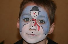 Cute snowman face painting idea for a kids Christmas or winter holiday party