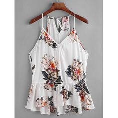 SheIn(sheinside) Flower Print Keyhole Self Tie Back Peplum Cami Top ($11) ❤ liked on Polyvore featuring tops, v-neck camisoles, cami tank tops, spaghetti strap tank top, white tank tops and white v neck cami