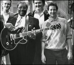 This is a picture of BB King on the set of the Blossom TV Show. I was there and spent the afternoon talking with BB King. He was very kind to me. He let me play Lucile through a small amp. He listened too! What a great man and musician. RIP BB King.
