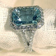 Large Emerald Cut Aqua Diamond Halo Engagement Wedding Ring In 925 Silver Aquamarine Jewelry, Gemstone Jewelry, Diamond Jewelry, Jewelry Rings, Jewelery, Jewelry Accessories, Fine Jewelry, Aquamarine Stone, Diamond Necklaces