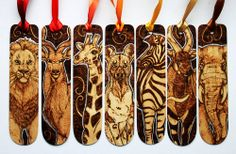 Pyrography: African Animal Bookmarks by *BumbleBeeFairy