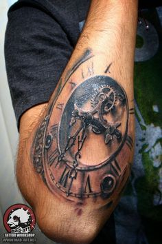 clock tattoo. dial tattoo