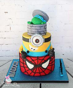 Spiderman, Minion and Ninja Turtle Cake - SmartieBox Cake Studio