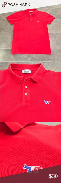 """Men's Maison Kitsune Polo with Fox! 100% Authentic men's red polo from acclaimed Paris brand Maison Kitsune. Very high quality construction, featuring their classic Fox emblem at left chest. Tagged as Medium, but fits like a slim Small.  Chest: 18.5"""", Total Length: 26"""" MAISON KITSUNE Shirts Polos"""