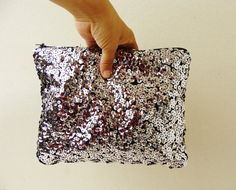 wish i knew about these for my bmaids! Sequin clutch bag metallic silver sequin clutch wedding by Razolly
