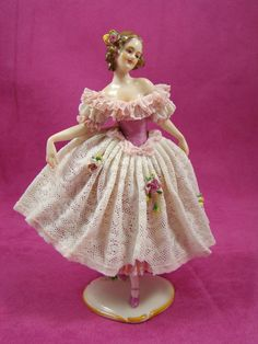 Lovely Volkstedt Germany Porcelain Lady Dancer Dresden Lace Figurine #Volkstedt