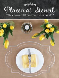 """DIY Tutorial: Rustic Chic Placemat Stencil.  There is a template on the link.  Draw around template onto Kraft paper for """"placemats""""."""