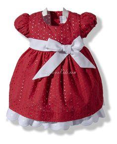 Vestido rojo en batista perforada