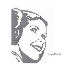 Star Wars princess Leia portrait Modern cross door LeRayonDeSoleil
