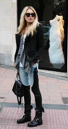 shorter jacket, longer cardigan, chambray w/ leather jeans, biker boots; the look is complete.