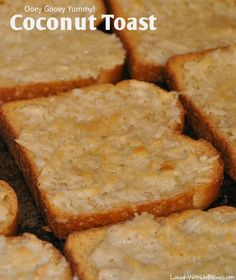 """Pinner said """"Coconut Toast! Oh my goodness you HAVE to try this. Tastes like Coconut Pie and so easy the kids can make it! Love this recipe! Breakfast Desayunos, Breakfast Dishes, Breakfast Recipes, Hawaiian Breakfast, Breakfast Pastries, Brunch Recipes, Sweet Recipes, Dessert Recipes, Delicious Desserts"""