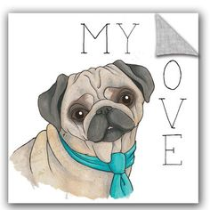 "ArtWall Elyse DeNeige Puppy Love Pug Color Wall Decal Size: 10"" H x 10"" W x 0.1"" D"