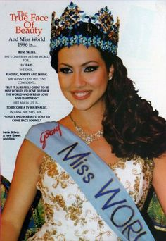 Irene Skliva (Greece) - Miss World 1996. Height is 177 cm, measurements: bust - 93, waist - 63, hips - 93.