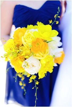 Yellow and Navy Wedding Yellow Bouquet