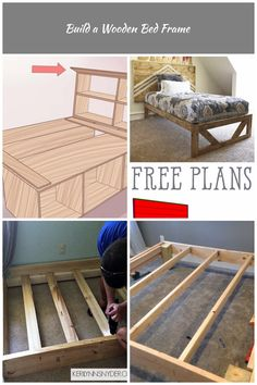 3 Ways to Build a Wooden Bed Frame - wikiHow diy bed frame Build a Wooden Bed Frame Wooden Bed Frames, Diy Bed Frame, Storage Chest, Bench, Cabinet, Drink, How To Plan, Furniture, Ideas