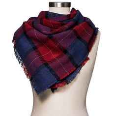 Women's Plaid Scarf Burgundy/Navy (Blue) - Merona