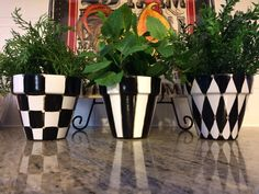 "Set of 3 Hand Painted Black and White Terra Cotta herb flower Pots - Set of 3 -  4.5"" or 6"" or 8"" by paintingbymichele on Etsy https://www.etsy.com/listing/223046554/set-of-3-hand-painted-black-and-white"