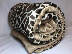 Kocyk nieocieplany 50x75 - Żyrafa - brązowy