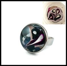 Hand painted on water ring, gray, pink/purple black white nail polish, adjustable ring, ebru art, made in Italy,