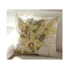 Yellow Orchid Embroidered Pillow Cover | Pottery Barn ($50) found on Polyvore