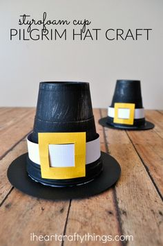 Turn a Styrofoam Cup into a cute Pilgrim Hat Kid Craft for Thanksgiving.