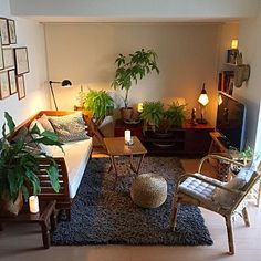 Lounge/観葉植物/間接照明/一人暮らし/バリ/モロッコ...などのインテリア実例 - 2017-09-09 13:53:20 #smallfamilyroomdesign