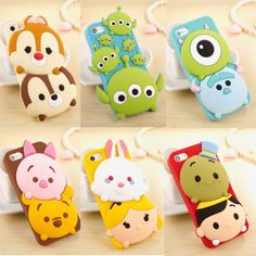 Silicone iPhone covers Disney Chip & Dale, Toy Story Alien, Monsters Inc Mike & Sulley, Piglet & Pooh, White Rabbit & Alice, Jiminy Cricket & Pinocchio