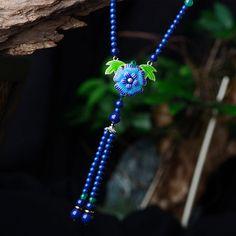 maxi necklace vintage jewelry for women handmade cloisonne flower pendants ceramic drop long blue stone strand chain bijoux 2017