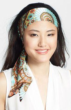Women's L. Erickson Silk Charmeuse Head Wrap - Blue