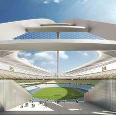 Modern Architecture Design And Construction Of Unique Big Arch In Durban Stadium For World Cup 2010 South Africa Stadium Architecture, Roof Architecture, Modern Architecture Design, Football Stadiums, Wonderful Places, Places Ive Been, New Homes, Construction, Building