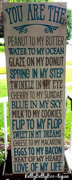 """9"""" x 28"""" wooden sign This delightful sign uses cute comparisons to let the one…"""