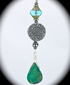 Natural turquoise stone pendant with sterling silver & vintage cathedral bead.
