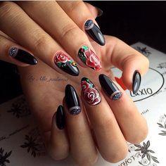 Almond-shaped nails, Beautiful evening nails, Black gel polish for nails, Black…