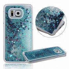 Galaxy S6 case ,E-uniq Transparent Plastic 3D Glitter Quicksand Stars Liquid Hard Case for Samsung Galaxy S6 ,Galaxy S6 Cute Case for Girls - Blue
