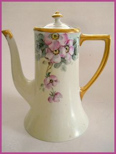 "Antique Limoges Hand Pained Porcelain Coffee Pot With Wild Rose Motif, Bearing Factory Mark Of William Guerin Co. ""W.G,& Co. Limoges France""    c. Early 1900's"