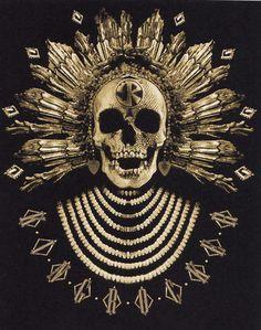 Golden native skull