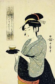Utamaro, A Half-Length Portrait of Naniwaya Okita, Depicting the Famous Teahouse Waitress Serving a Cup of Tea, ca. 1790s