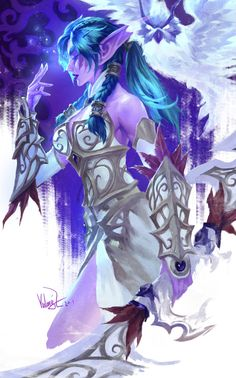 Night Warrior Tyrande by Yulong Zhang Fantasy Character Design, Character Concept, Character Inspiration, Character Art, Warcraft Heroes, Warcraft Art, Dnd Characters, Fantasy Characters, World Of Warcraft Characters