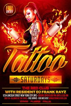 Tattoo Party Flyer Template - http://xtremeflyers.com/tattoo-party-flyer-template/ Tattoo Party Flyer Template PSD   Tattoo Party Flyer Template PSD was designed to advertise a particular event in your bar / club / pub.  We all know that everyone loves having a tattoo so why not choosing this flyer template for your next event ?   The design is well sorted in folders, and #Club, #Flyer, #Party, #Poster, #Psd, #Snapback, #Tattoo, #Template