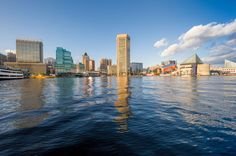 A view of the Baltimore, Maryland skyline from the Inner Harbor.