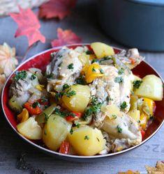 Poulet cocotte aux pommes de terre et poivrons Potato Salad, Healthy Recipes, Healthy Food, Potatoes, Ethnic Recipes, Dutch Oven, Cooking Recipes, Healthy Food Recipes, Healthy Nutrition
